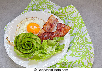 Fried Egg, Bacon and Avocado Rose for Breakfast - Fried Egg...