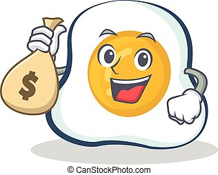 fried egg character cartoon with money bag