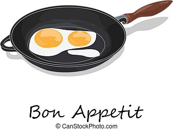 Fried egg. Close up view of the fried egg on a frying pan. Vector illustration of food on cast iron pan and white background...