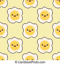 Fried egg faces seamless pattern kawaii cartoon character seamless pattern on yellow background. Flat design Vector Illustration