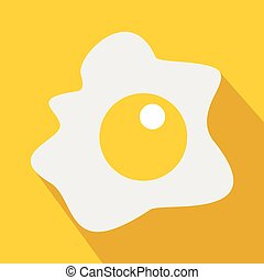 Fried egg icon, flat style