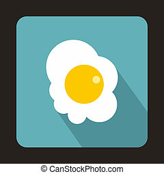 Fried egg icon in flat style