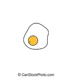 Fried egg icon on white background