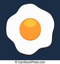 Fried egg icon with flat color style isolated