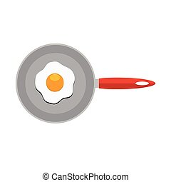 Fried egg in frying pan. Flat color style vector Icon