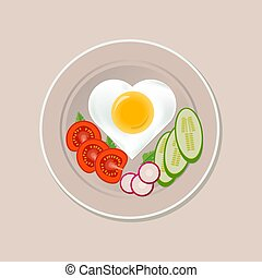 Fried egg in the shape of a heart and sliced vegetables on a plate
