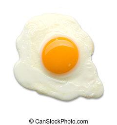 fried egg on a white