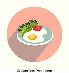 Fried egg on white background flat