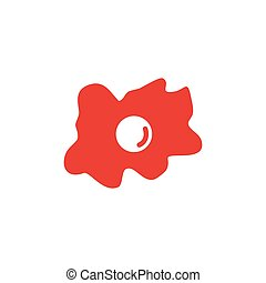 Fried Egg Red Icon On White Background. Red Flat Style Vector Illustration.
