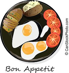 Fried egg, sliced tomato and baked potato. Vector illustration of food on cast iron pan and white background...