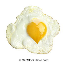 Fried egg with heart form yolk, isolated on white background...
