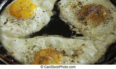 Fried Eggs Fried in a Pan