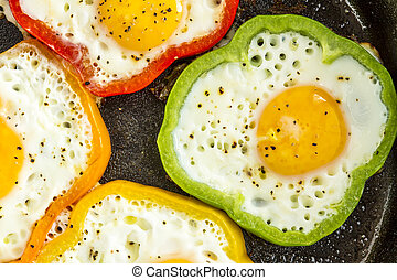 Fried Eggs in Cast Iron Skillet - Close up of large cast ...