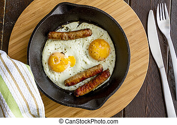 Fried Eggs in Cast Iron Skillet - Fried eggs and sausage ...
