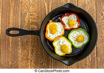 Fried Eggs in Cast Iron Skillet - Large cast iron skillet ...