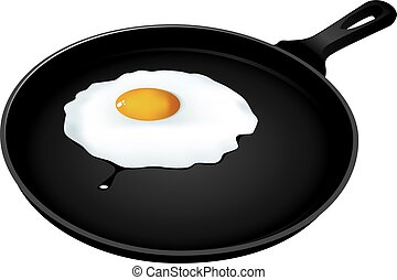 Fried eggs in frying pan