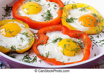 fried eggs in yellow and red peppers macro