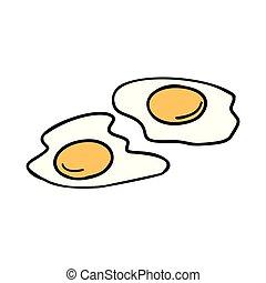 fried eggs, morning Breakfast. Comic book cartoon pop art...