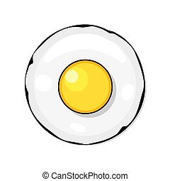 Fried eggs, omelet in cartoon flat style.