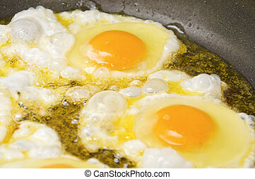 Fried eggs on a frying pan