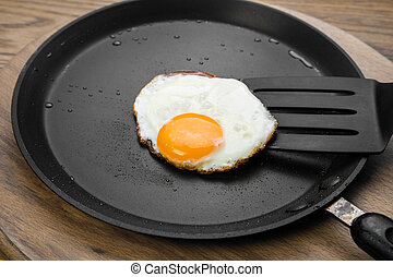 Fried eggs on a pan