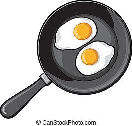 Fried eggs on frying pan (fried egg)