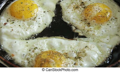 Fried Eggs On Frying Pan