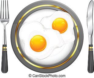 Fried eggs on plate, food ingredients, vector illustration