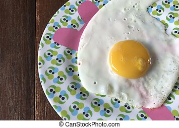Fried Eggs on plate, food for breakfast