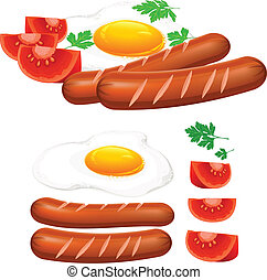 Fried eggs, sausage and tomato on white, food ingredients, ...