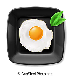 Fried eggs served on black plate