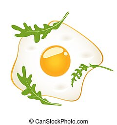Fried eggs with arugula, isolated on white background. Vector illustration.