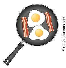 fried eggs with bacon in a frying pan vector illustration...