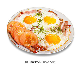 fried eggs with bacon on plate