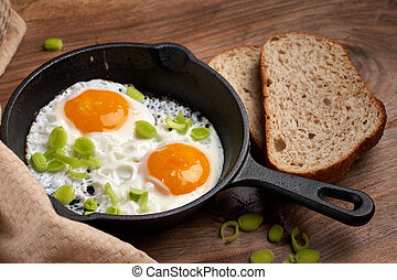 Fried eggs with bread