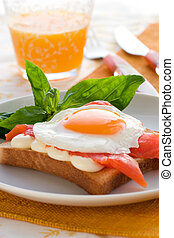 Fried eggs with salmon on toast