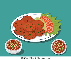 Fried fish cake in Traditional Thai food with sauce, vector