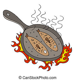 Fried Fish - An image of fish being fried.