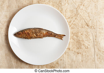 fried fish in a white plate