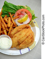 fried fish sandwich and french fries