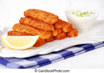 Fried fish sticks with remoulade