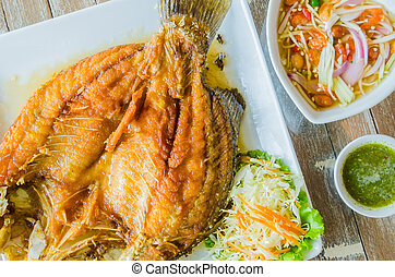 Fried fish with fish sauce