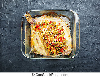 Fried flounder stuffed with vegetables - Plaice flounder or ...