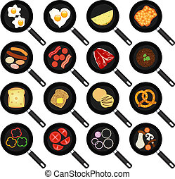 Fried Food In Non-stick Frying Pans - A vector collection of...