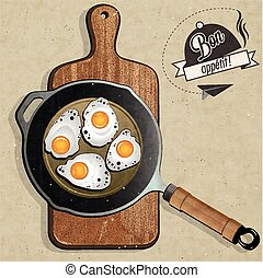 Fried Frying Pan with Eggs
