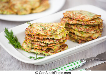 Green pancakes with zucchini and herbs - Fried Green...