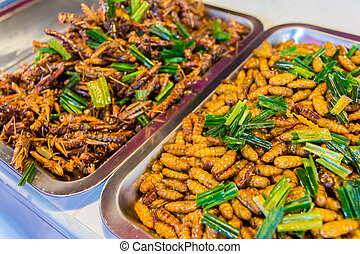 Fried insects food