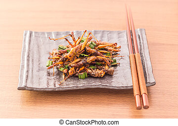 Fried insects - Wood worm insect crispy with pandan after...