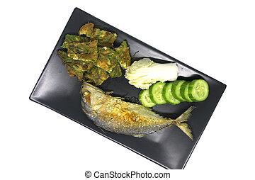 Fried mackerel with acacia pennata omelet