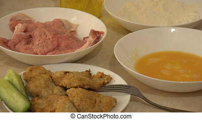 Fried Meat Making With Raw Ingredients. Flour, Yolk, Crumble